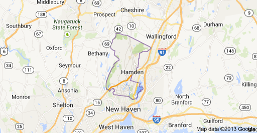 Hamden CT map